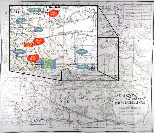 "(Click to enlarge) ""Map of the Pine Ridge & Rosebud Indian Reservations and Adjacent Territory,"" prepared under direction of Chas. A. Worden, 7th Infantry, Acting Engineer, Department of the Platte, from 1890 authorities, with inset showing disposition of forces on 21 Dec. 1890."