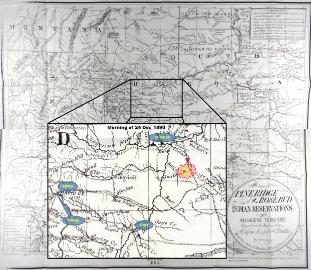 (Click to enlarge) Inset depicting approximate location of Lt. Col. Sumner and Col. Carr on the morning of 24 Dec. 1890.