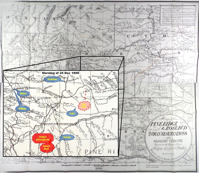 (Click to enlarge) Inset depicting approximate location of Maj. Henry and Col. Carr on the morning of 25 Dec. 1890.