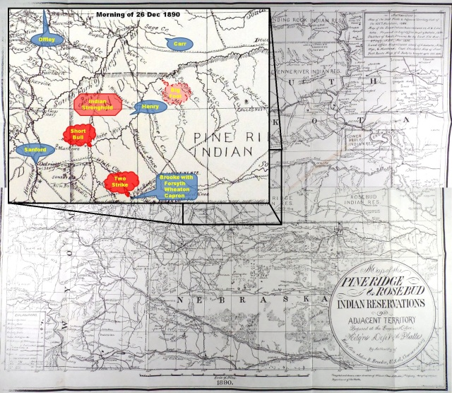 (Click to enlarge) Inset depicting approximate location of Maj. Henry and Col. Carr, and the Brule Lakota under Kicking Bear and Short Bull on White River after abandoning their stronghold on the morning of 26 Dec. 1890.
