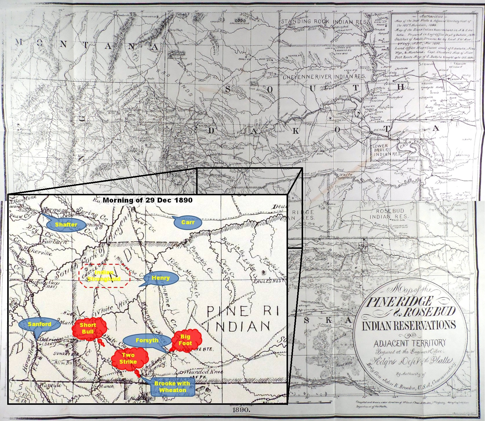 (Click to enlarge) Inset depicting approximate location of U.S. troops and Big Foot's band at noon on 28 Dec. 1890.