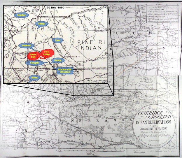 (Click to enlarge) Inset depicting approximate location of U.S. troops and as Col. Forsyth conducts on 30 Dec. 1890.