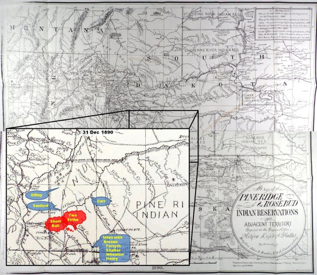 (Click to enlarge) Inset depicting approximate location of U.S. troops as General Miles takes command at Pine Ridge 31 Dec. 1890.