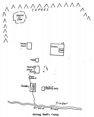 This sketch of Sitting Bull's camp appeared in a 1908 narrative by E. G. Fechet.