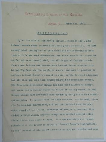 Nelson Miles censure of Lt Col E. V. Sumner