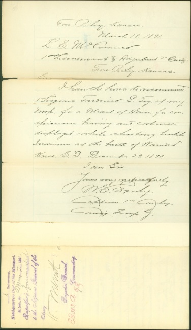 Edgerly, Winfield S., 18 Mar 1891 Medal of Honor recommendation